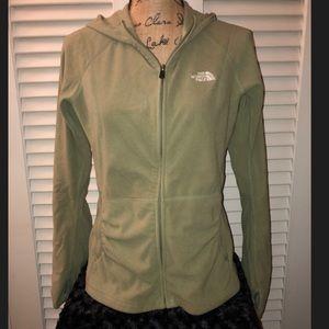 North Face Green fleece hoodie - Medium